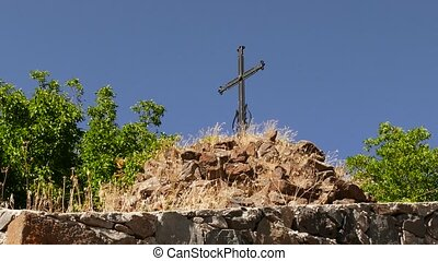 "Old Metal Cross on a Castle Wall - ""Old Metal Cross on a..."