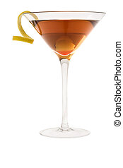 dry manhattan cocktail or Rob Roy on a white background -...