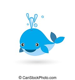cute smiling blue whale flat icon - cute smiling blue whale...
