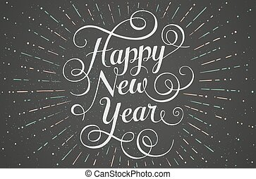 White lettering Happy New Year for greeting card on chalk board background. Vector illustration.