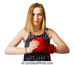 Determined fitness girl on white background - Portrait of...