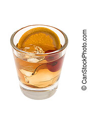 Old Fashion cocktail on a white background