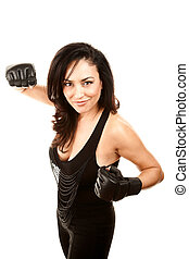 Hispanic Woman in Boxing Gloves