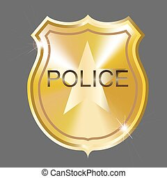 Vector Police Badge - Vector golden police badge....