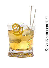 Scotch and Water - Scotch and water on the rocks with lemon...