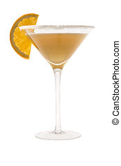 Sidecar Cocktail - Sidecar mixed drink with orange slice...