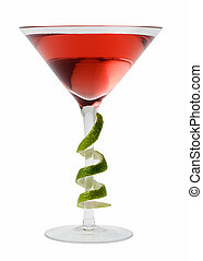 Cosmopolitan cocktail with lime garnish