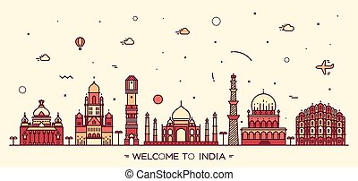 Indian skyline vector illustration linear style - Indian...