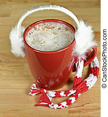hot chocolate with earmuffs - Hot chocolate drink in red mug...
