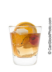 Old Fashion cocktail on a white background - Old fashioned...