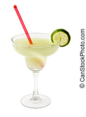 Margarita Cocktail - Margarita mixed drink with lime slice...