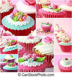 Various pinky and red cupcake, close up - collage of various...