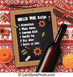 Christmas drink mulled wine, bottle of wine and recipe,...