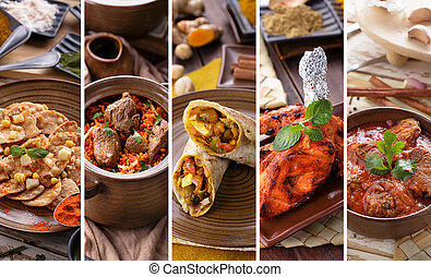 indian food collage - A portrait of various indian food...