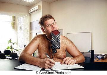 Freak businessman works in office