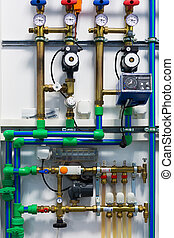 Heating system - Pipes, pumps, valves and thermostats of...