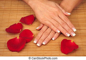 manicure - beautiful hands with perfect manicured nails