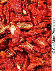 many red tomatoes dried in the market - many red tomatoes...