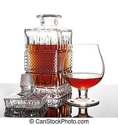 Wealth cognac - Decanter and glass of wealth cognac on...
