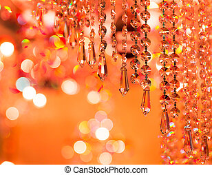 Vintage crystal lamp details, orange tone