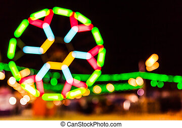Abstract blurred neon light background,de-focused at night