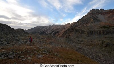 Hiker Backpacker Crystal Lake Trail near Ophir pass Colorado...