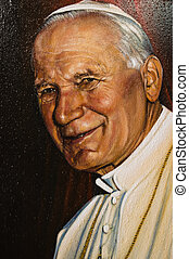 Painted image of Pope John Paul II - Assisi, Italy - October...