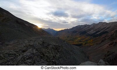 View from the top of the Ophir Pass at Sunset slow pan right...
