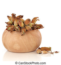 Cob Nuts - Cob nuts in a beech wood bowl and scattered,...