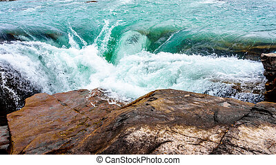 Athabasca Falls in Jasper Park - Waters of the Athabasca...