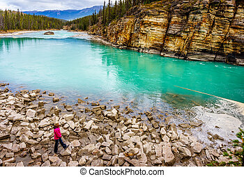 Turquoise Water of the Athabasca - The turquoise colored...