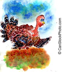 Watercolor Turkey Bird - Watercolor painting of a stylized...