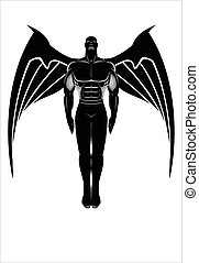 Flying winged man. Winged Human silhouette.