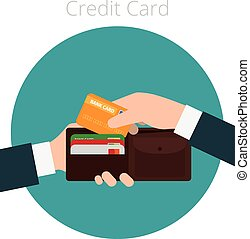 Hand with credit card - Hands with wallet and credit card...