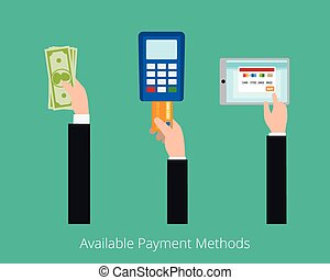 Payment options vector concept Card, cash and electonic...