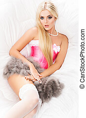 Young and sexy blond woman in erotic lingerie - Hot and...
