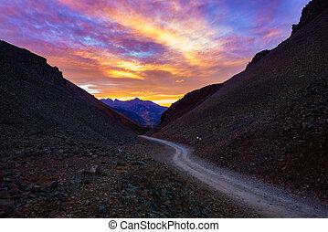 Ophir Pass after Sunset - looking down the Ophir Pass...