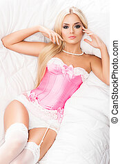 Young and sexy blond woman in erotic lingerie - Seductive...