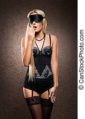 Young and sexy blond woman in erotic lingerie - Hot gorgeous...