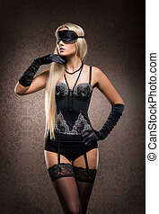 Young and sexy blond woman in erotic lingerie - Gorgeous...
