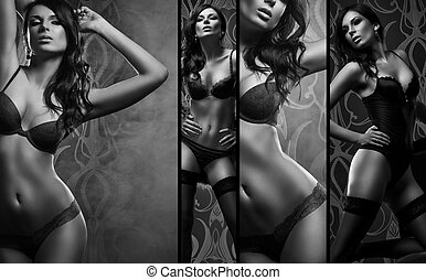Black and white collage. Sexy woman posing in beautiful...