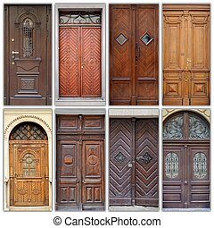 A photo collage l front doors to houses