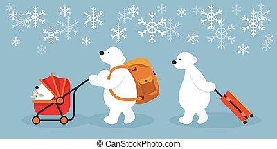 Arctic Polar Bear Family Characters, Travel