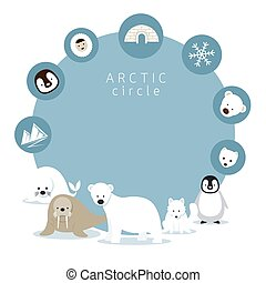 Arctic Animals and Icons Frame - Winter, Nature Travel and...