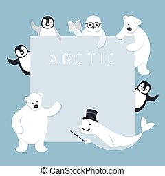 Arctic Animals Characters Show Presentation, Frame - Winter,...