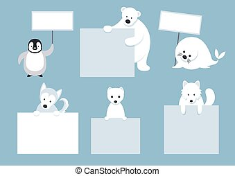 Arctic Animals Characters Show Blank Signs - Winter, Nature...