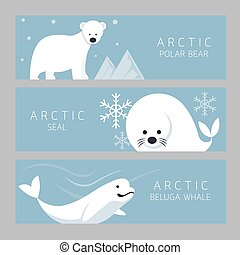 Arctic Banner, Polar Bear, Seal, Beluga Whale - Winter,...