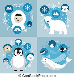 Arctic Characters and Icons Set - Winter, Nature Travel and...