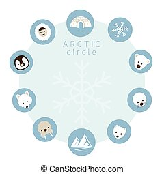 Arctic Animals, People, Icons Circle Frame - Winter, Nature...