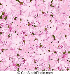 Seamless floral pink phlox background in realistic...